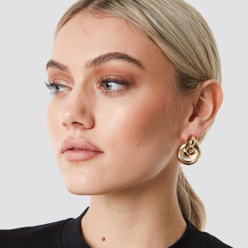 Yhpup Korean Simple Design Brand Round Geometric Dangle Earrings Gold Charm Brincos For Ladies Party Wedding Statement Jewelry