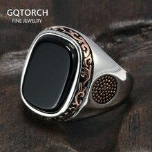 Prawdziwe czyste pierścionki męskie srebrne s925 Retro z motywem tureckim w stylu Vintage pierścionki dla mężczyzn z naturalny czarny onyks kamienie turcja biżuteria
