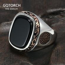 Real PURE MensแหวนเงินS925 Retro VINTAGEตุรกีแหวนผู้ชายสีดำธรรมชาติหินนิลตุรกีเครื่องประดับ