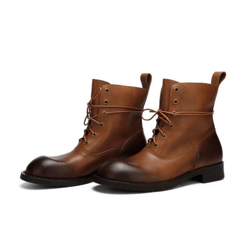 Autumn Winter Man Round Toe Boots Retro Genuine Leather Lace Up Motorcycle Boots Brand Fashion Mid-Calf Cargo Men Shoes