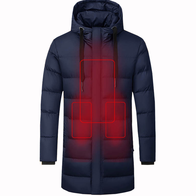 Men Winter Heated Hiking Jackets Women Warm Hooded Long Coats Outdoor Skiing Climbing Windproof Down Cotton Overcoat Plus Size 1