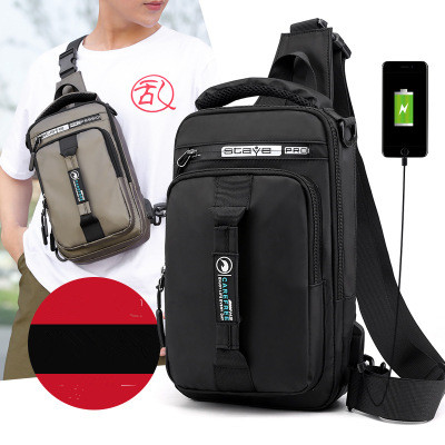 2020 New Men's Chest Bags Charging USB Interface Fanny Pack Multifunctional Shoulder Bags Backpacks