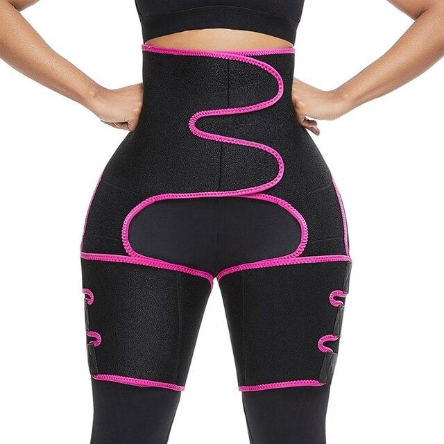 Women Sweat Slim Thigh Trimmer Leg Shapers 3 in 1 Neoprene Push Up Waist Trainer Panties Fat Burning Heat Compress Slimming Belt 1