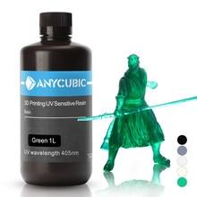 Resina de curado para impresora ANYCUBIC 3D, material universal de 405nm de curación rápida SLA UV para impresiones LCD como fotones S, en blanco, gris y negro