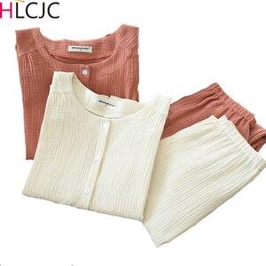 Image 1 - 2020 nowa jesienna krepa bawełniana z długim rękawem spodnie piżamy dla kobiet piżamy piżamy damskie Plus rozmiar oddychające ubrania domowe
