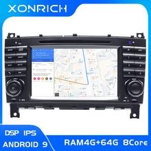 2 Din Android 9 auto radio Multimedia navegación para Mercedes/Benz W203 W209 W219 clase A160 Clase C C200 CLK200 GPS DVD ESTÉREO
