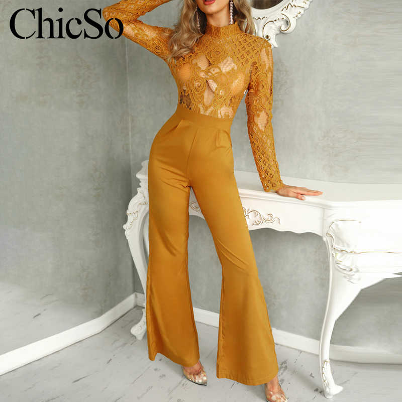 MissyChilli Long sleeve hollow out lace yellow jumpsuit Women elegant transparent wide leg romper Autumn sexy bodycon overalls