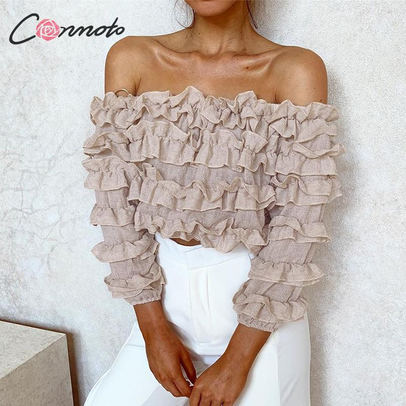 Conmoto Sexy Off Shoulder Solid Women Blouse Shirts Ruffles Cluster Autumn Winter 2019 Casual Blouses Half Sleeve Blusa Mujer