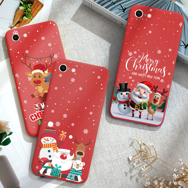 Silicone Red Case For iPhone 11 PRO XR 7 8 Plus 6S 6 S X XS MAX Phone Case Bumper TPU Christmas New Year Gifts Elk Snow Cover image