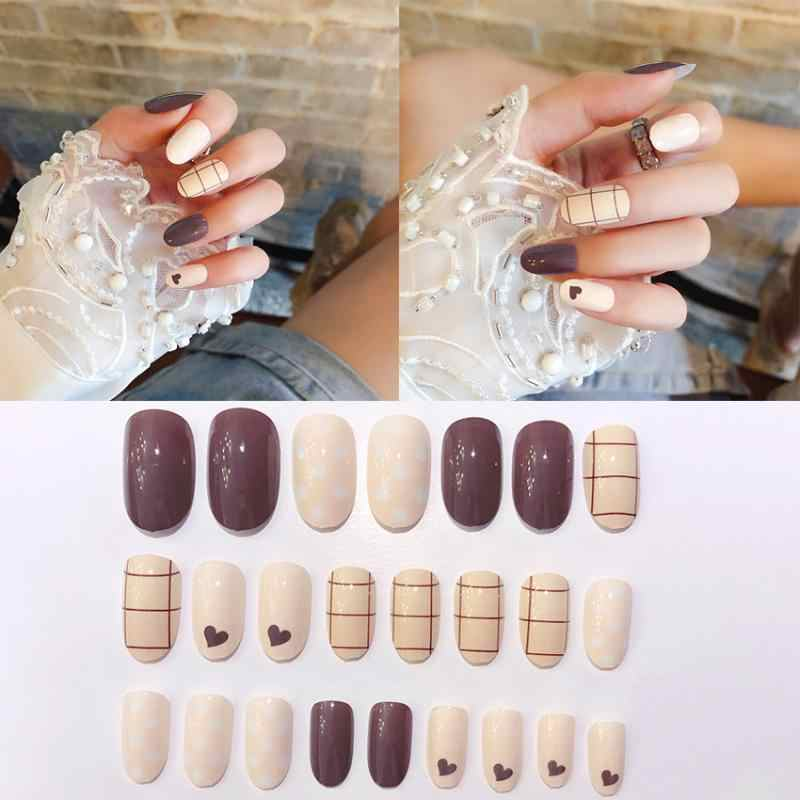 24 Pcs Natuurlijke Franse Korte Kunstnagels Nail Art Tips Valse Doodskist Nagels Art Tips Platte Vorm Volledige Cover Manicure fake Nail Tips
