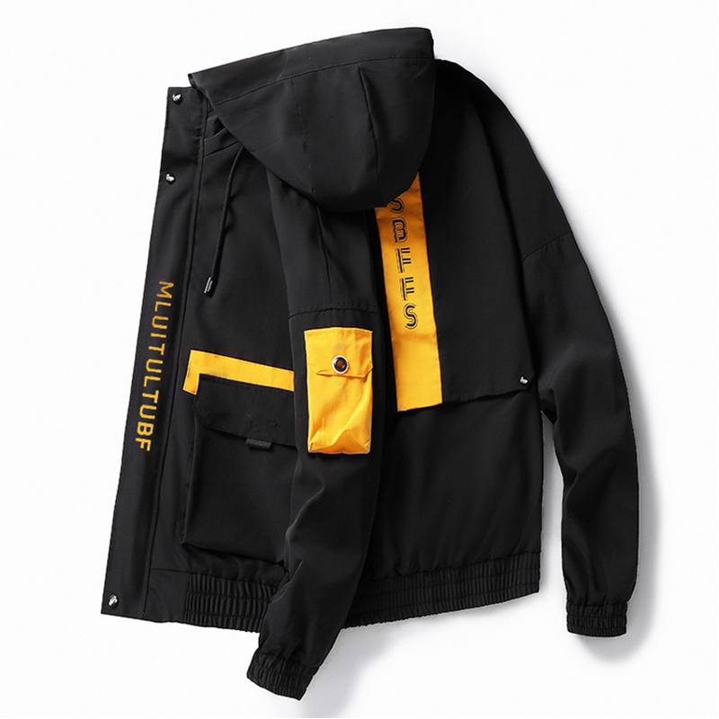 Men's Windbreaker Spring  Jacket Steetwear Korean Japanese Cargo Bomber Jackets Autumn Big Pockets Harajuku Hip Hop Coats,ZA334