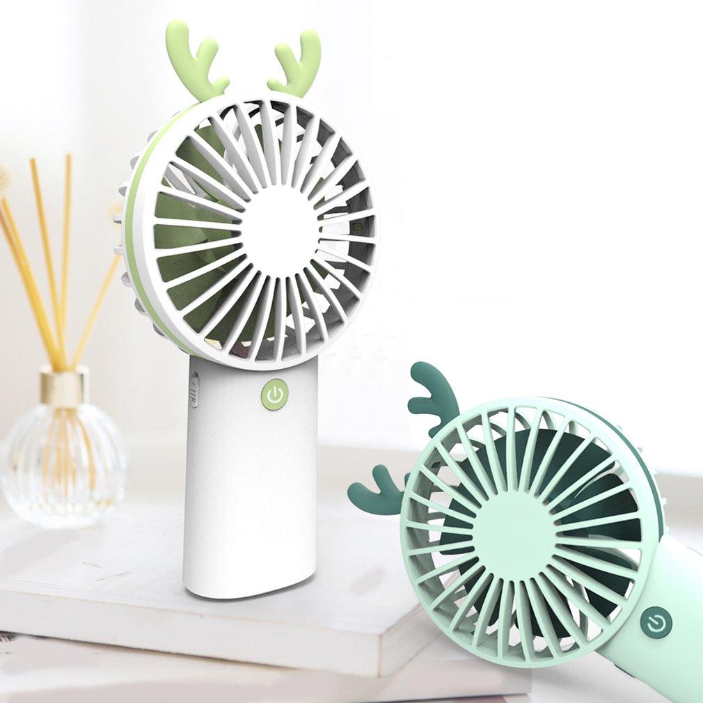 Jiayit Student Dormitory Rotates USB Small Fan 5 Blades Cooler Cooling Fan USB Mini Electric Fan Super Mute Silent Wrought Iron Desktop Fan Pink