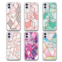 Tfshining Geometric Marble Holder Stand Phone Cases For Huawei P30 Pro Lite Mate 20 Plating Soft IMD Cover Capa