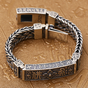 Image 4 - Pure Silver Sterling 925 Solid Silver Religious Buddha Lection Braided Lock S925 Bangle Bracelet (HY3A)