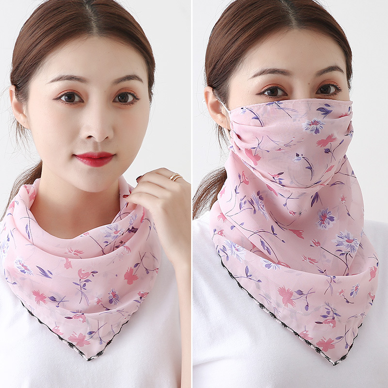 Sun-Shading Silk Scarf Variety Hanging Ear Mask Thin Multi-Function Wind-Proof All -match Triangle Veil
