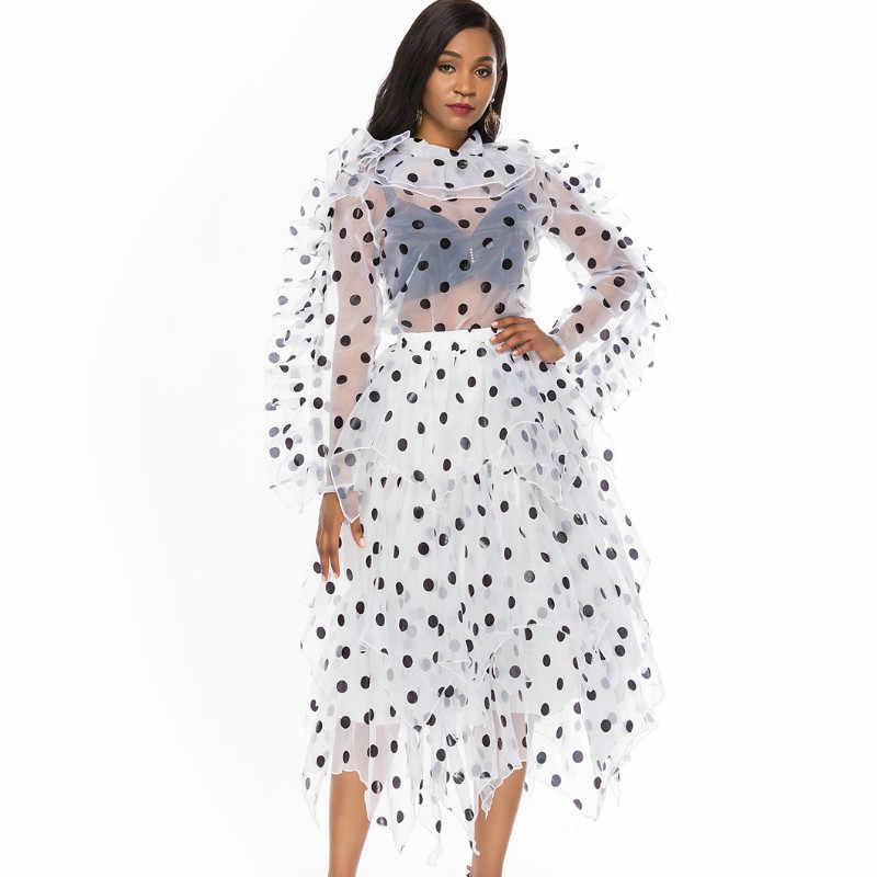 נקבה חדשה מנוקדת שתי חתיכה סט אורגנזה Oversize חולצה סדיר Midi חצאית סט בתוספת גודל נשים 2020 אביב קיץ אופנה