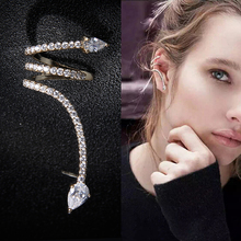 Punk Rock Snake Personality Clip Earrings For Office Lady Yellow Gold Color AAA+ Cubic Zirconia Earings Fashion Jewelry AE162