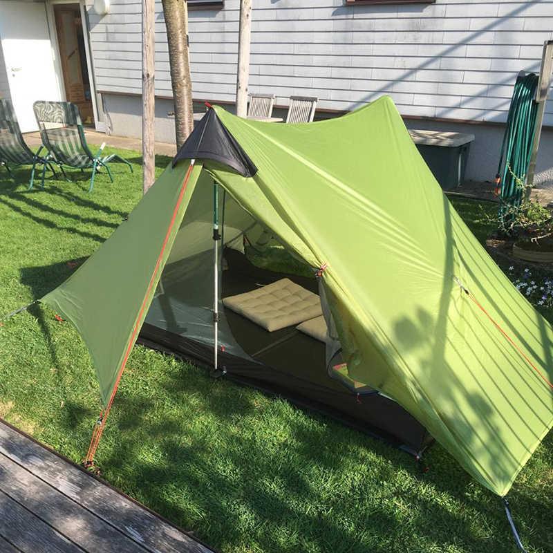 LanShan 2 3F 2 คนไม่มีSee Um Ultralight Campingเต็นท์ 3 ฤดู/4 Seasons 15D Silnylon Rodlessเต็นท์
