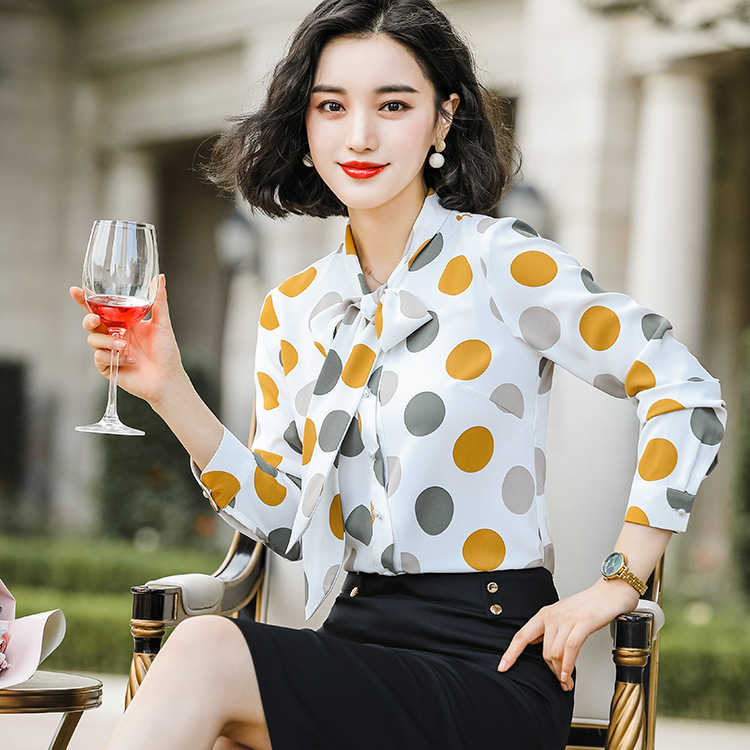 Chiffon Polka Dot Shirt Women's 2019 New Style Autumn Korean-style Retro Hong Kong Style Long Sleeve Bow Tops Women's Shirt