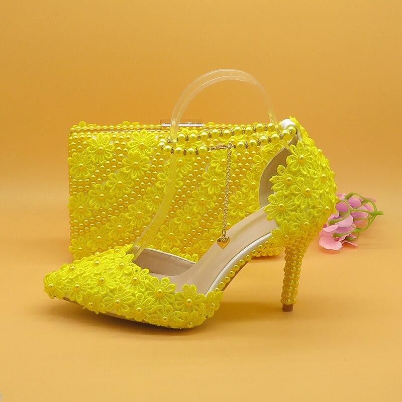 7 cm/9 cm chaussures de mariage fleur jaune avec sacs assortis talons hauts bout pointu bride à la cheville dames fête chaussure et sac ensemble