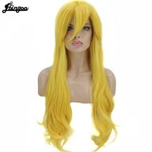 Ebingoo Hair Cap+Long Natural Wave Princess Toadstool Peach Yellow Costume Synthetic Cosplay Wig For Halloween