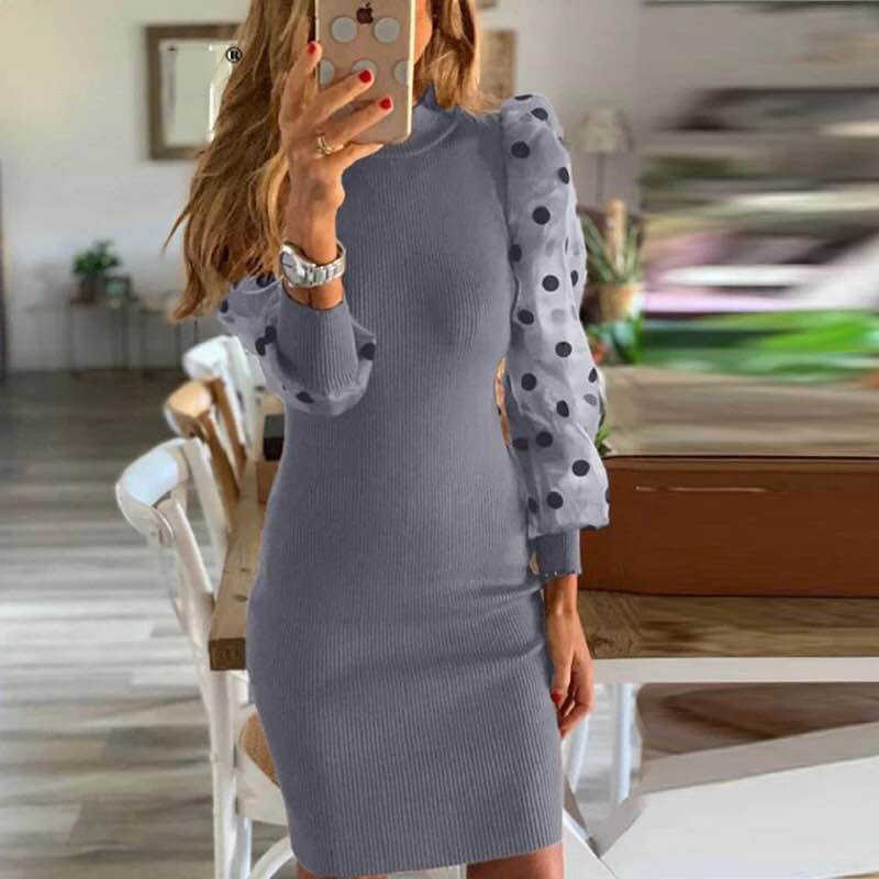 Women Spring Fall Mesh Puff Long Sleeve Ribbed Knitted Dress Slim Casual Polka Dots Bodycon Dress Elegant Clubwear Party Clothes