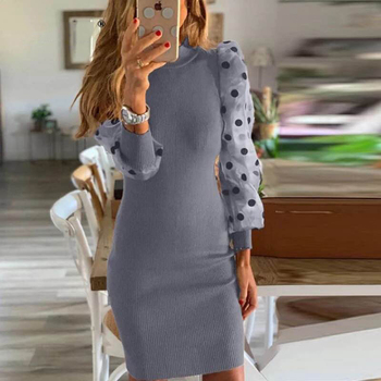 Women Spring Fall Mesh Puff Long Sleeve Ribbed Knitted Slim Casual Polka Dots Bodycon Elegant Party Clothes