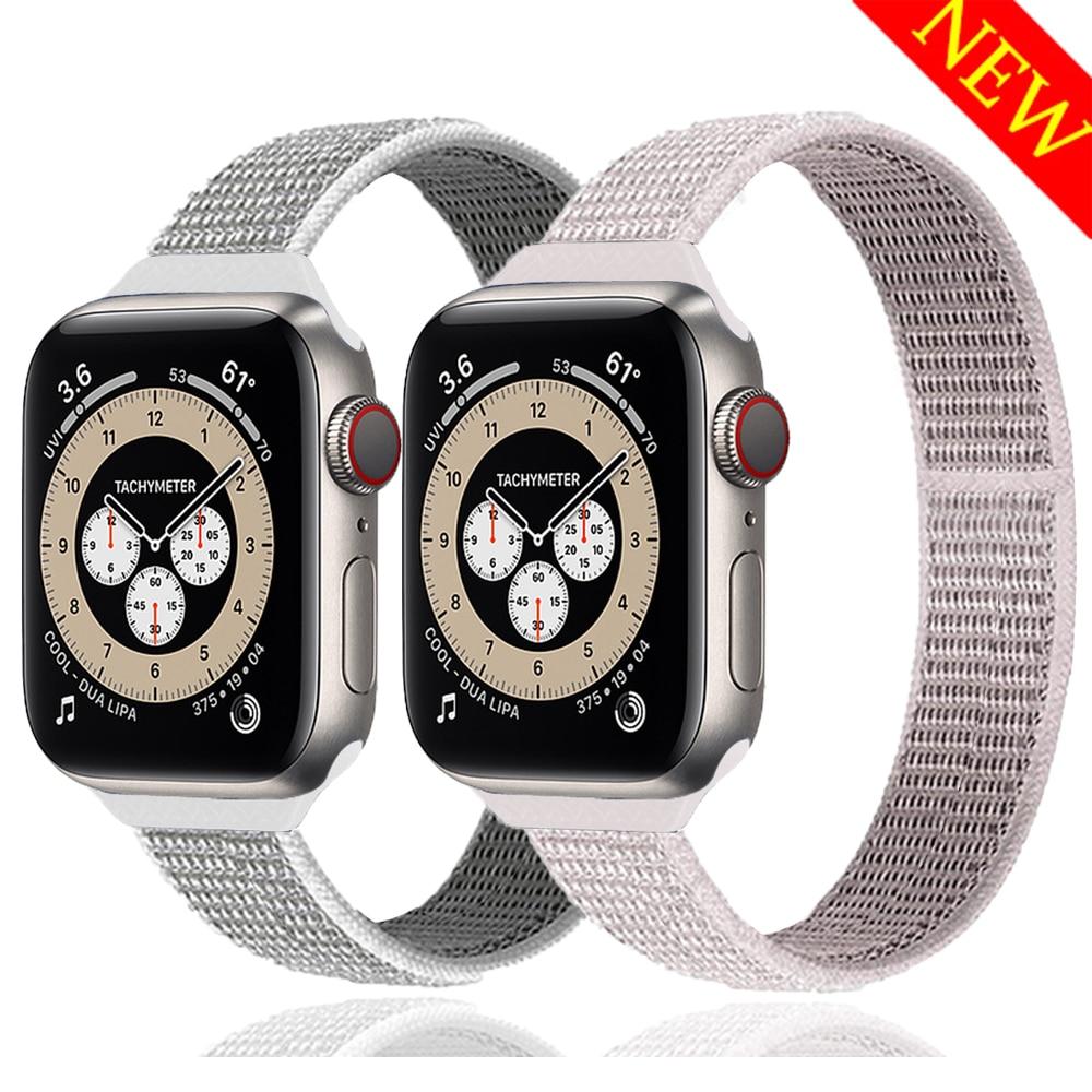 Bracelet pour Apple bracelet de montre 44mm 40mm 42mm 38mm smartwatch mince en Nylon boucle iwatch Sport bracelet Apple montre série 6 se 5 4 3