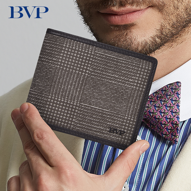 BVP Famous Brand <font><b>Genuine</b></font> <font><b>Leather</b></font> Check Pattern <font><b>Men's</b></font> <font><b>Wallet</b></font> High Quality Business <font><b>Man</b></font> <font><b>Wallets</b></font> Fashion High Grade Male Purse 50 image