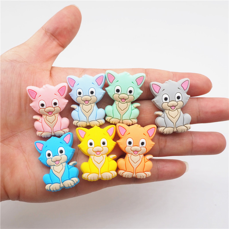 Chenkai 10PCS Silicone Cat Teether Beads DIY Baby Kitten Animal Cartoon Chewing Pacifier Dummy Sensory Jewelry Toy Accessories