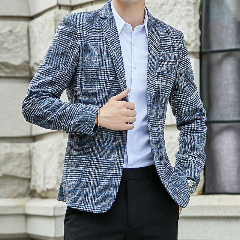 VODOF 2019 New Arrival Brand Clothing Jacket Men's Plaid Suit Jacket Men Blazer Fashion Slim Male Casual Blazers Men Size M-5XL