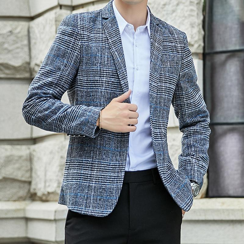 VODOF 2019 New Arrival Brand Clothing Jacket Men's Plaid Suit Jacket Men Blazer Fashion Slim Male Casual Blazers Men Size M-5XL