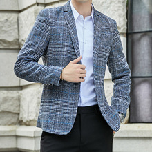 VODOF 2019 New Arrival Brand Clothing Jacket Men's Plaid Suit Jacket Men Blazer