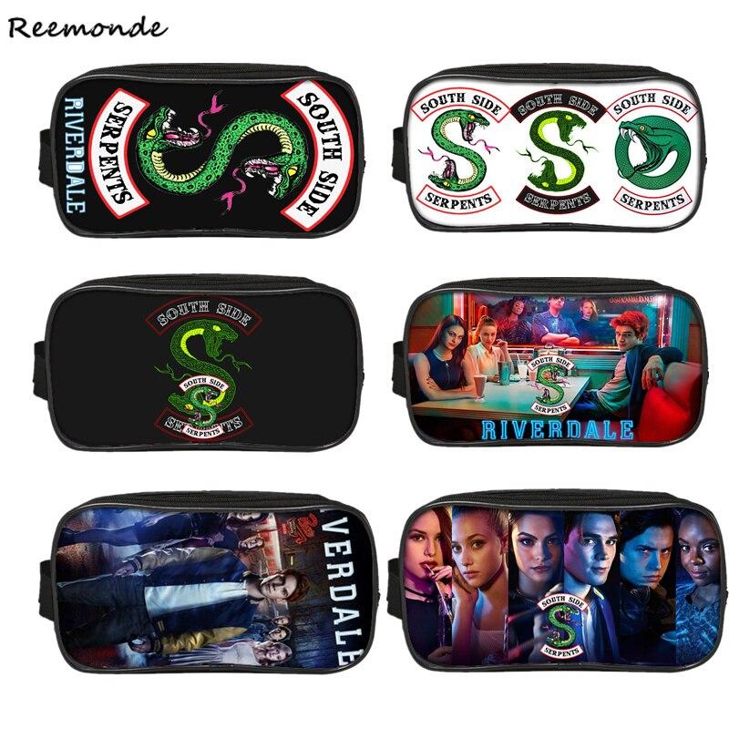 Kids Riverdale School Bags Riverdale Pencil Case Southside Canvas Zipper Bag Girls South Side Serpents Riverdale Storage Bag
