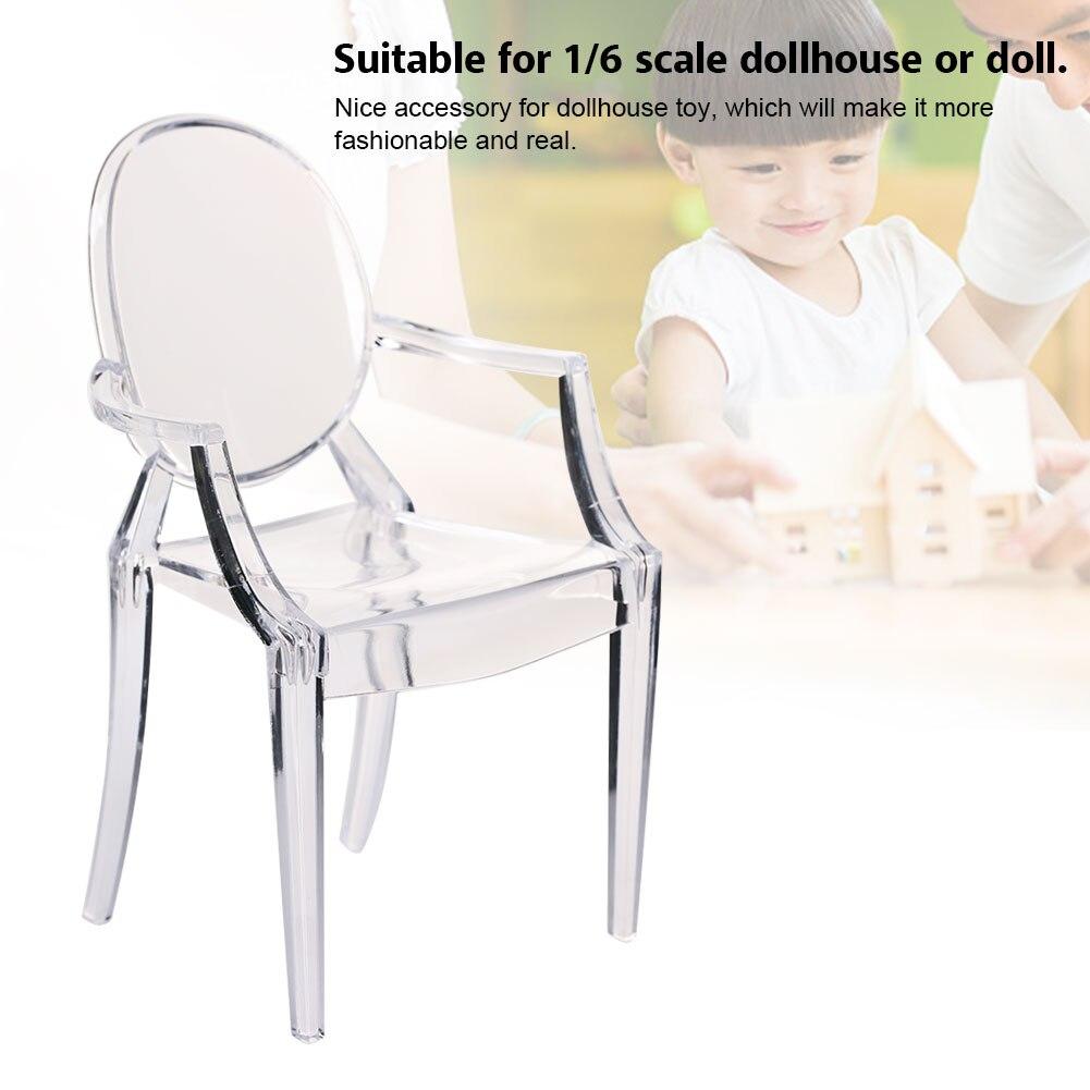 1:6 Scale Doll House Miniature Armchair Plastic Chair Furniture Chair For Children Dolls Furniture Accessories Translucent Color