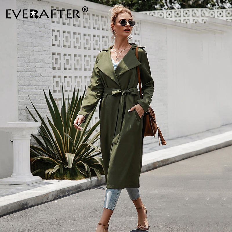 EVERAFTER Elegant V Neck Army Green Long Trench Coat Women Turn-down Bandage Hlong Sleeves Coats High Street Cotton Outwear Coat