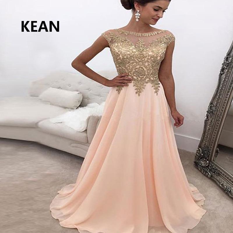 Peach Evening Dress Chiffon Gold Lace Illusion Floor Length Vestidos De Festa Islamic Dubai Kaftan Saudi Arabic Pink Prom Dress