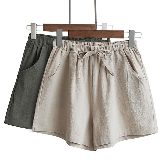 Cotton Linen Shorts Woman Basic Short Pants Mini Trousers Trafic Fashion Bottom for Teen Girls Plus Size Summer 2021 1