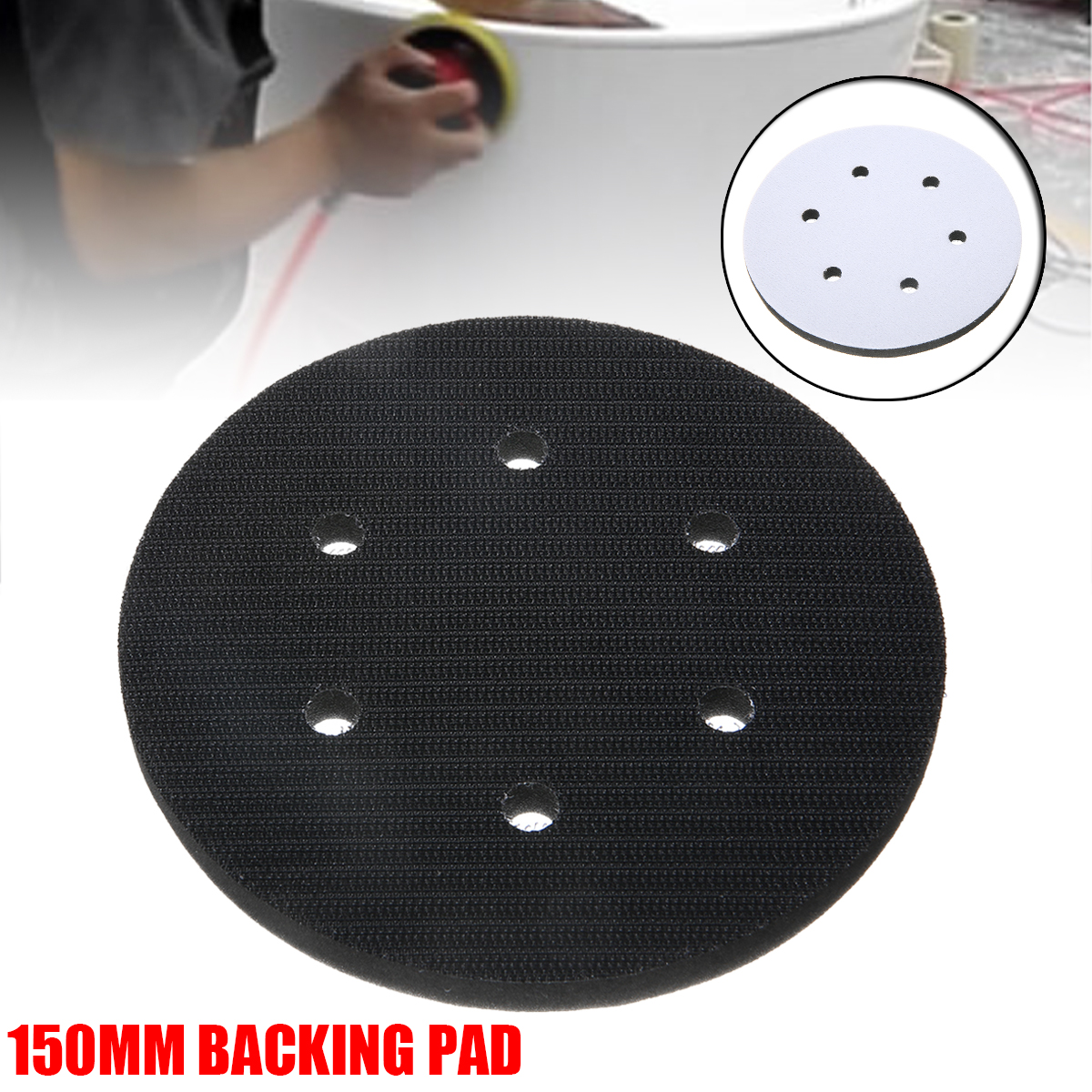 1pc 150mm Backing Pad Mat 6 Inch 6 Hole Soft Interface Cushion Pad Hook And Loop Foam Protecting Sanding Disc Power Sander Tools