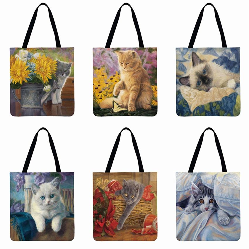 Christmas Gift Lovely Pastoral Cat Printed Tote Bag Linen Febric Casual Tote Women Shoulder Bag Foldable Shopping Bag Beach Bag