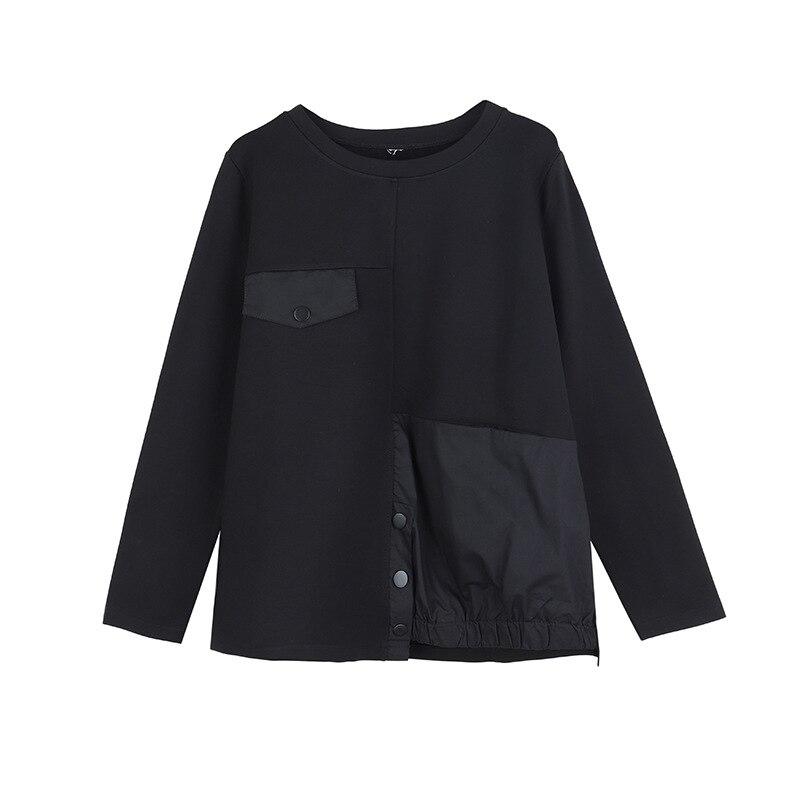 [EAM] Women Black Asymmetrical Button Split Big Size T-shirt New Round Neck Long Sleeve  Fashion Tide Spring Autumn 2020 1T542 7