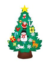 DIY Felt Christmas Tree Pendants Wall Hanging Decoration Stickers Xmas Ornaments Children Gift For Home