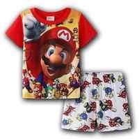 Pijamas de dibujos animados de Mario para niños, conjunto de ropa de dormir de algodón, camiseta y pantalones de verano