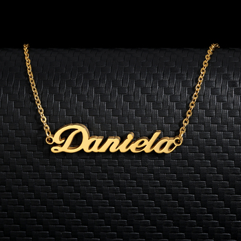 Customized Fashion Stainless Steel Name Necklace Personalized Letter Gold Choker Necklace Pendant Nameplate Gift customized women jewelry fashion stainless steel name necklace personalized letter gold choker necklace pendant nameplate gift