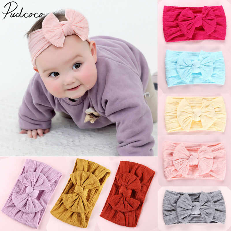 2020 Baby Accessoires Leuke Baby Jongens Meisjes Kids Peuter Haarband Hoofdband Stretch Tulband Head Wrap Geribbelde Foto Props
