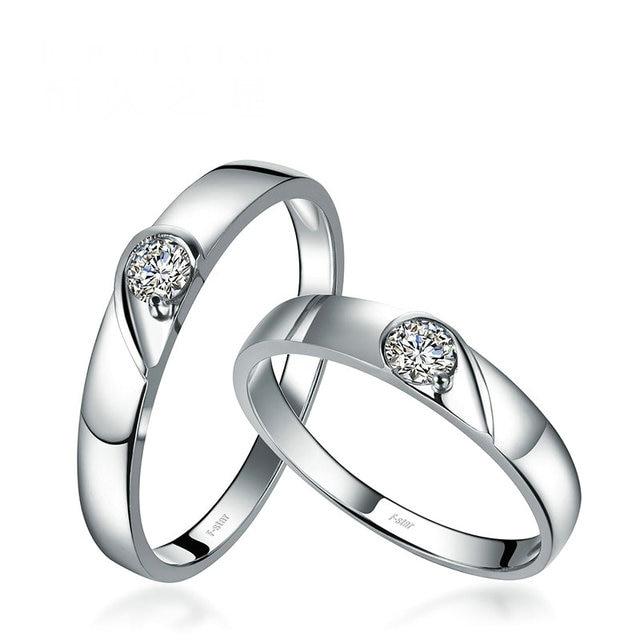 18ct Gold Diamond Couple Set Rings Wedding Bands Engagement Rings for Men Women Free DHL Shipping 1