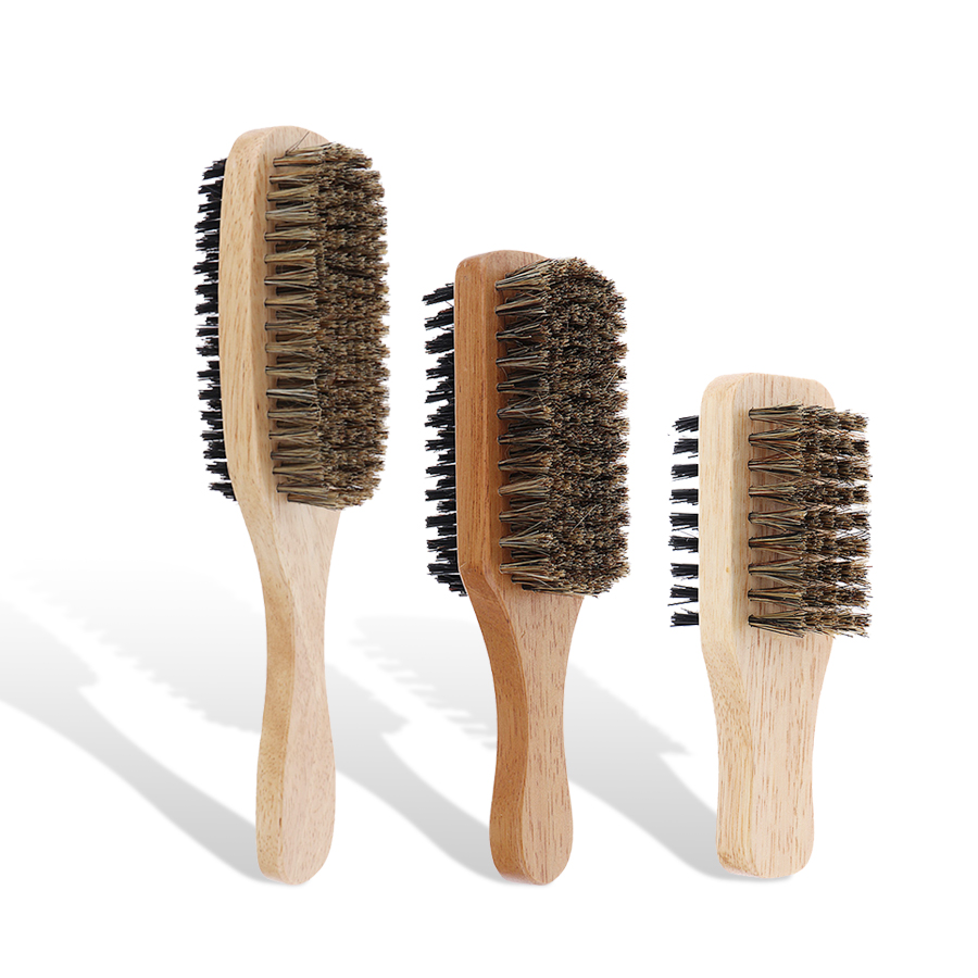 Mens Natural Wooden Wave Brush For Male. Boar Bristle Hair Brush - Styling Beard Hairbrush For Short,Long,Thick,Curly,Wavy Hair
