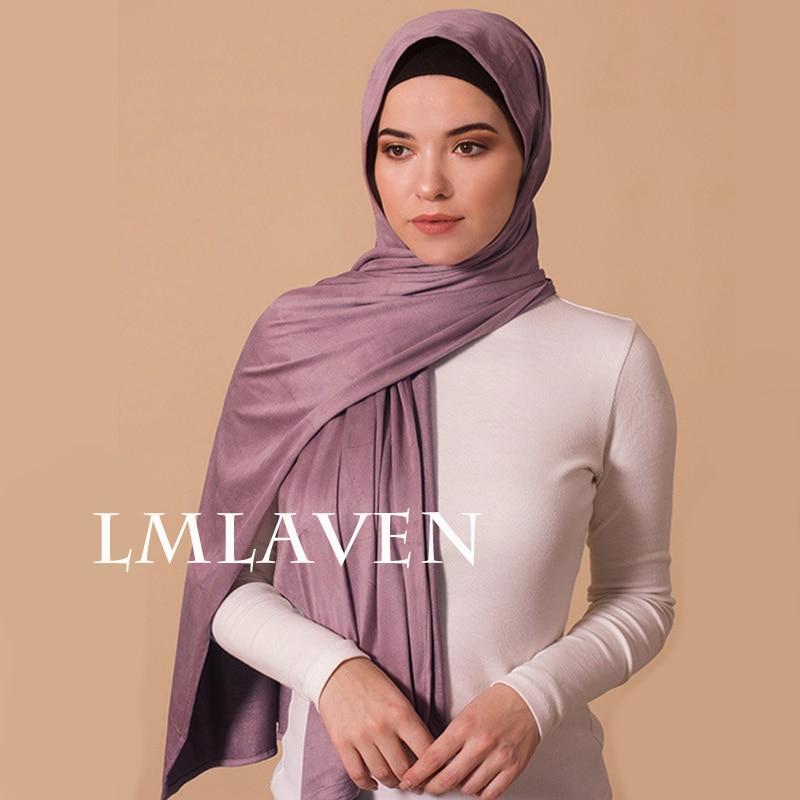 Fashion Plain Suede Hijab Scarf Stretchy Shawls Women Muslim Turban New Material High Quality Solid Color Scarves