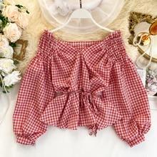 Шикарная клетчатая блузка с v образным вырезом 2020 модная корейская блузка с открытыми плечами и повязкой милый женский элегантный топ с пышными рукавами и оборками для женщинБлузки    АлиЭкспресс