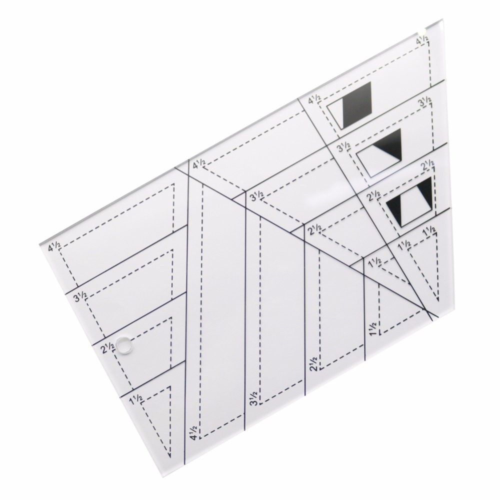 1 Pc 21*11.5cm Acrylic Multifunctional Polygon Rulers Trapezoid Patchwork Drawing Sewing Measuring Ruler Office School Supplies